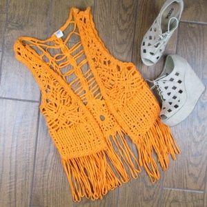 Other - Macrame Cover Up One Size Vest Orange Boho Urban